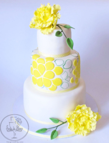 Yellow peony wedding cake