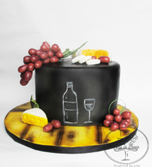 Wine and grapes 21st Birthday cake